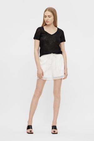 straight fit korte broek OBJTALILA met textuur wit