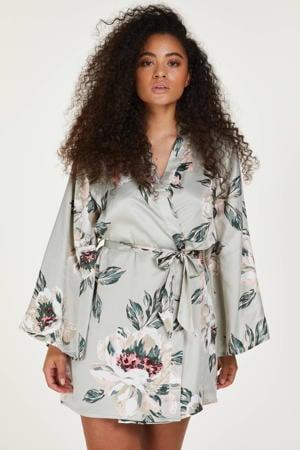 satijnlook kimono met all over print lichtblauw