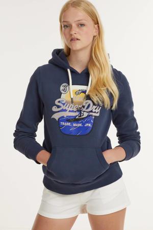 hoodie met printopdruk en borduursels donkerblauw