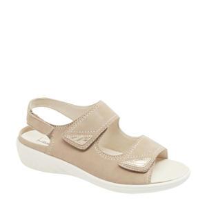 comfort leren sandalen beige