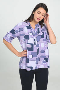 Cassis top met all over print lila, Lila