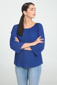 Cassis semi-transparante top blauw, Blauw