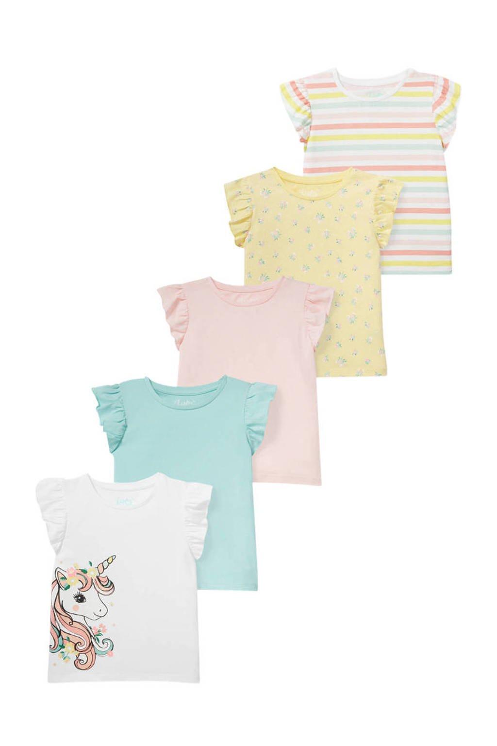 C&A Happy girls Club T-shirt - set van 5 multi, Wit/mintgroen/roze/geel