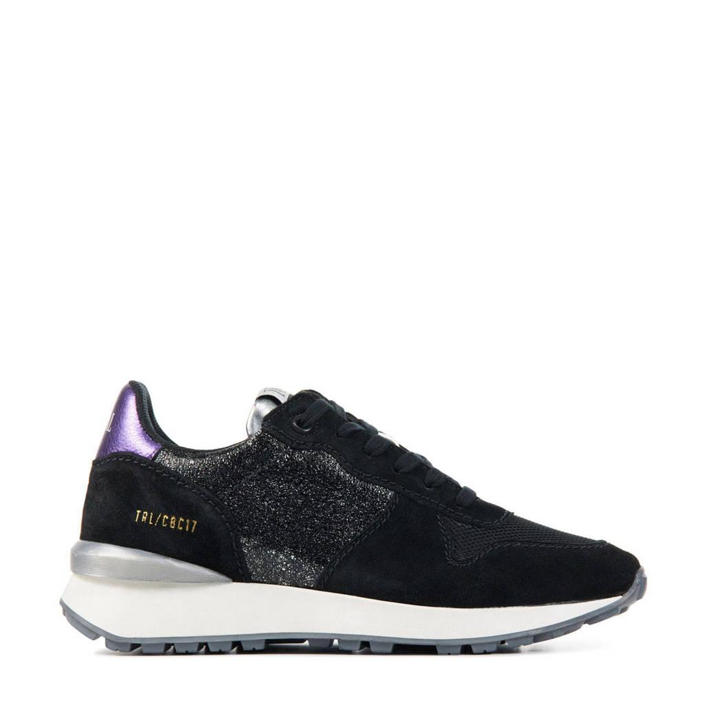 Toral 12637  leren sneakers zwart/paars, Zwart