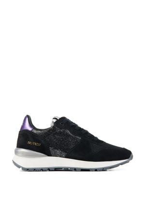 12637  leren sneakers zwart/paars
