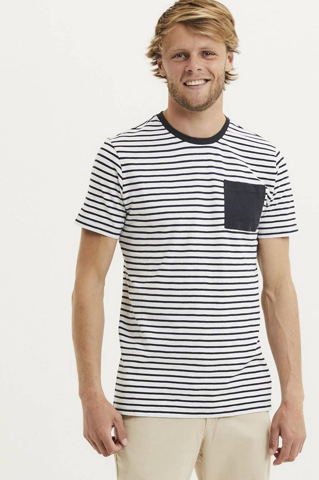 Knowledge Cotton Apparel gestreept T-shirt van biologisch katoen total eclipse, Total eclipse