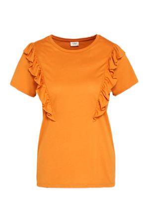 T-shirt JDYKAREN met volant oranje