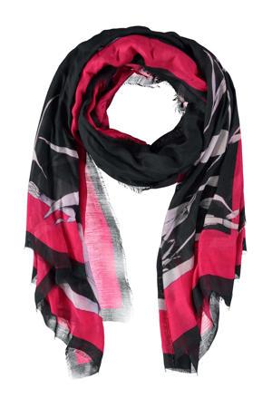 sjaal met all over print donkerblauw/fuchsia