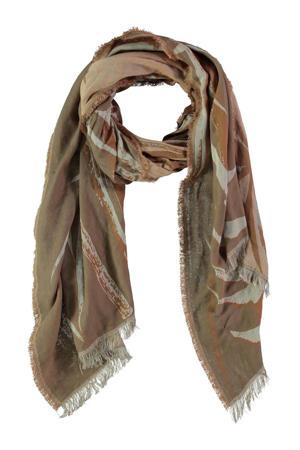sjaal met all over print beige