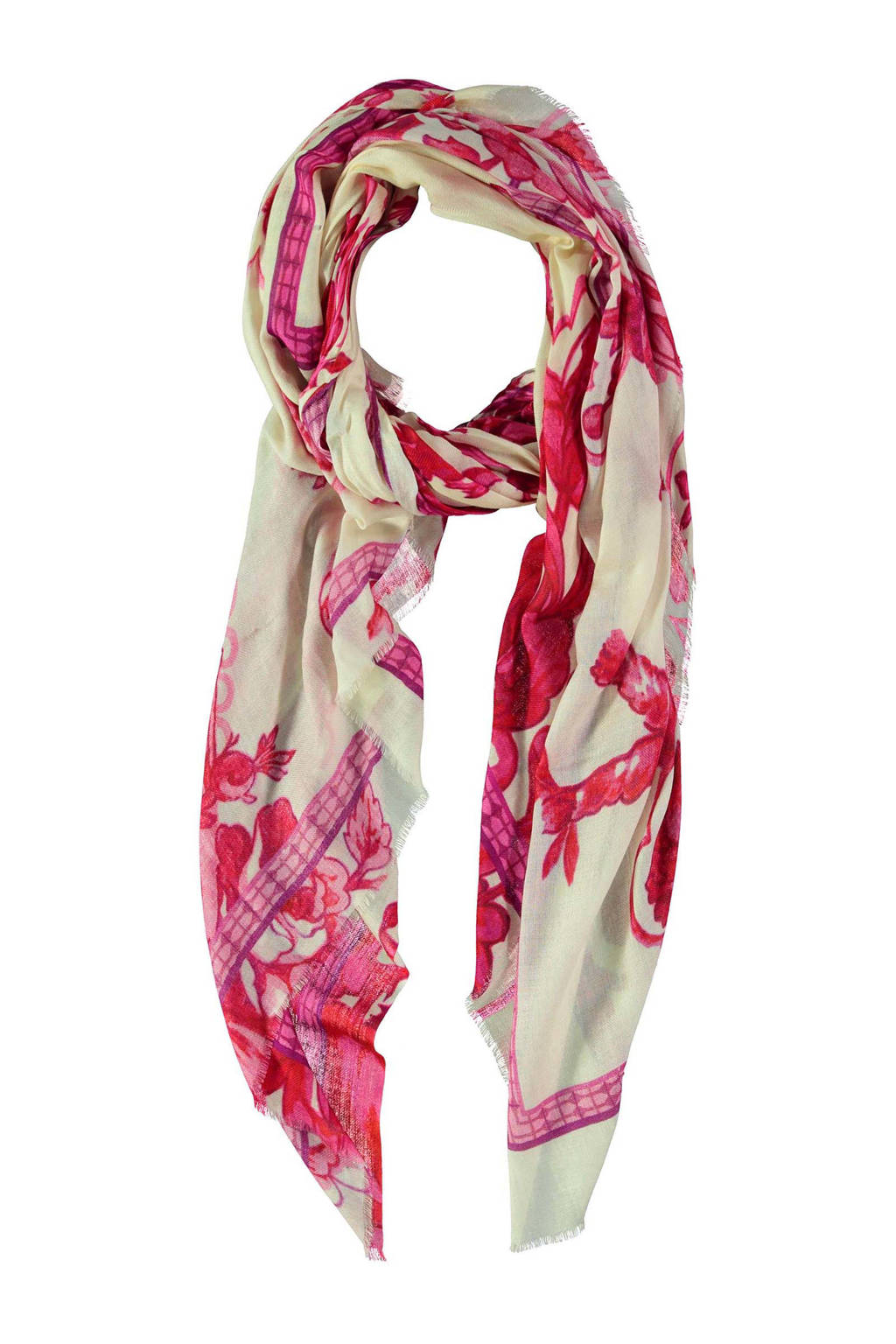 Claudia Sträter sjaal met all over print fuchsia/wit, Fuchsia/wit