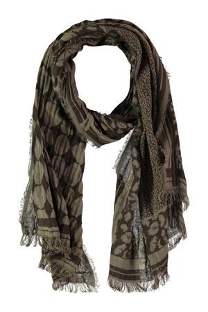 sjaal met all over print donkerbruin/olijfgroen