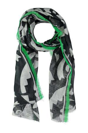 sjaal met all over print donkerblauw/groen