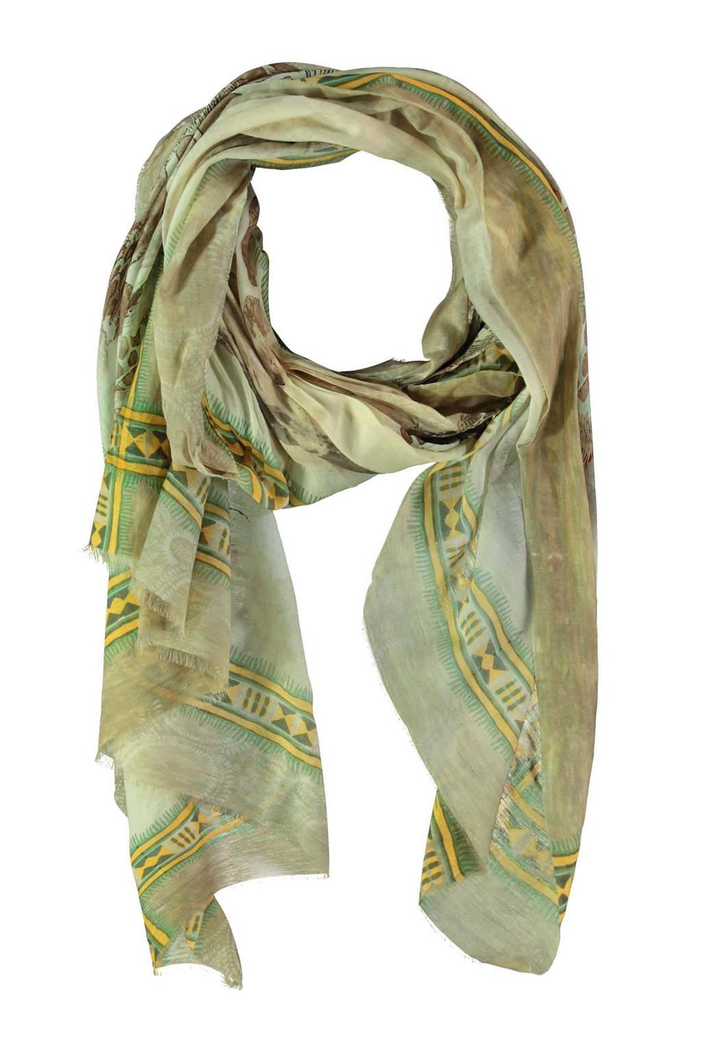 Claudia Sträter sjaal met all over print olijfgroen, Olijfgroen