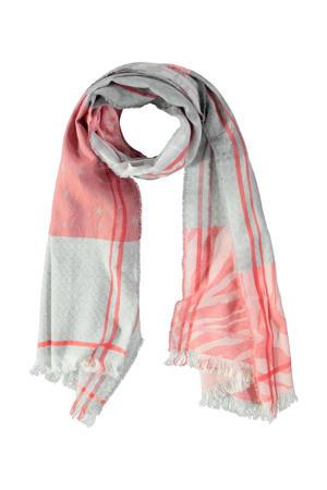 sjaal Dille grijs/koraalrood