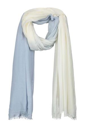 sjaal Curly lichtblauw/ecru