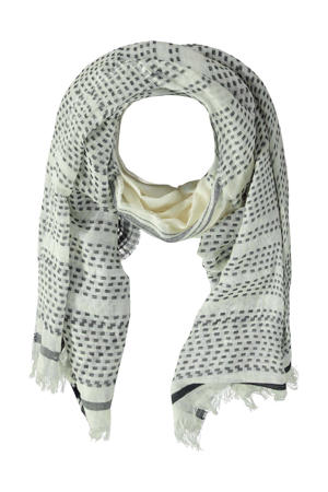sjaal Cinthia ecru/grijs