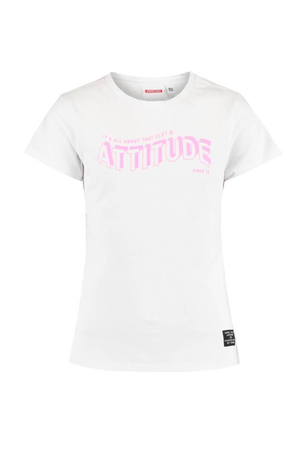 CoolCat Junior T-shirt Elsie met tekst wit/roze, Wit/roze