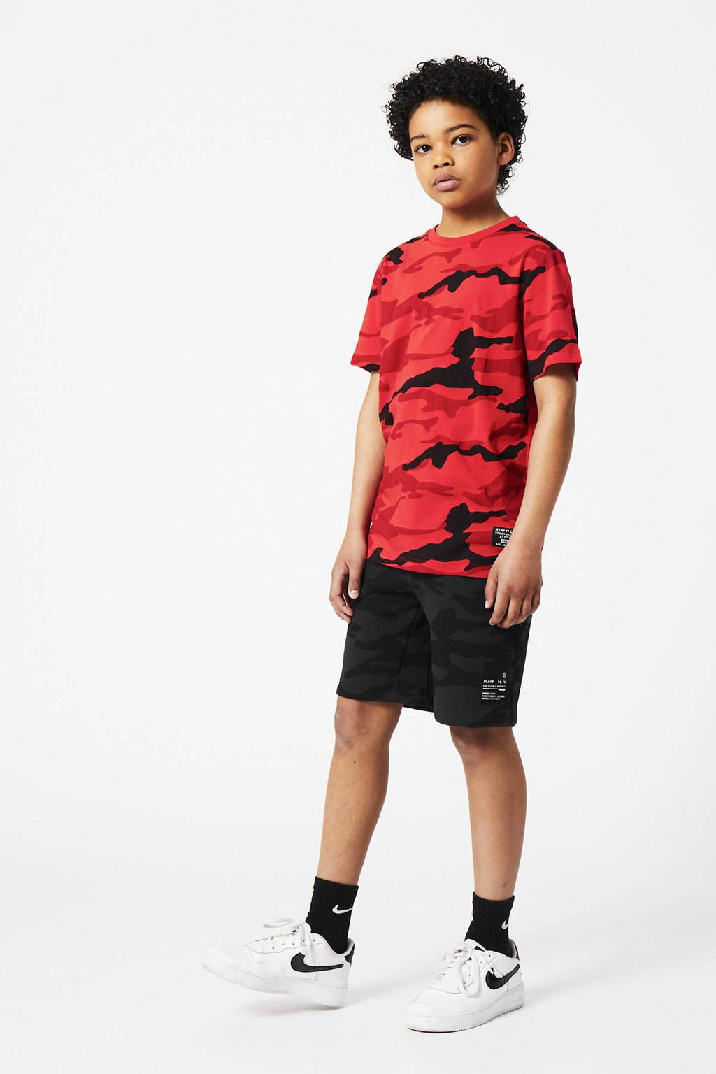 CoolCat Junior regular fit sweatshort Nate met camouflageprint zwart/antraciet, Zwart/antraciet