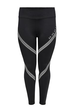 Plus Size sportlegging ONPSHY zwart/wit