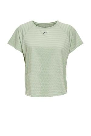 Plus Size sport T-shirt ONPSAHA lichtgroen