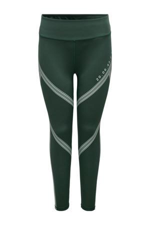 Plus Size sportlegging ONPSHY groen/wit
