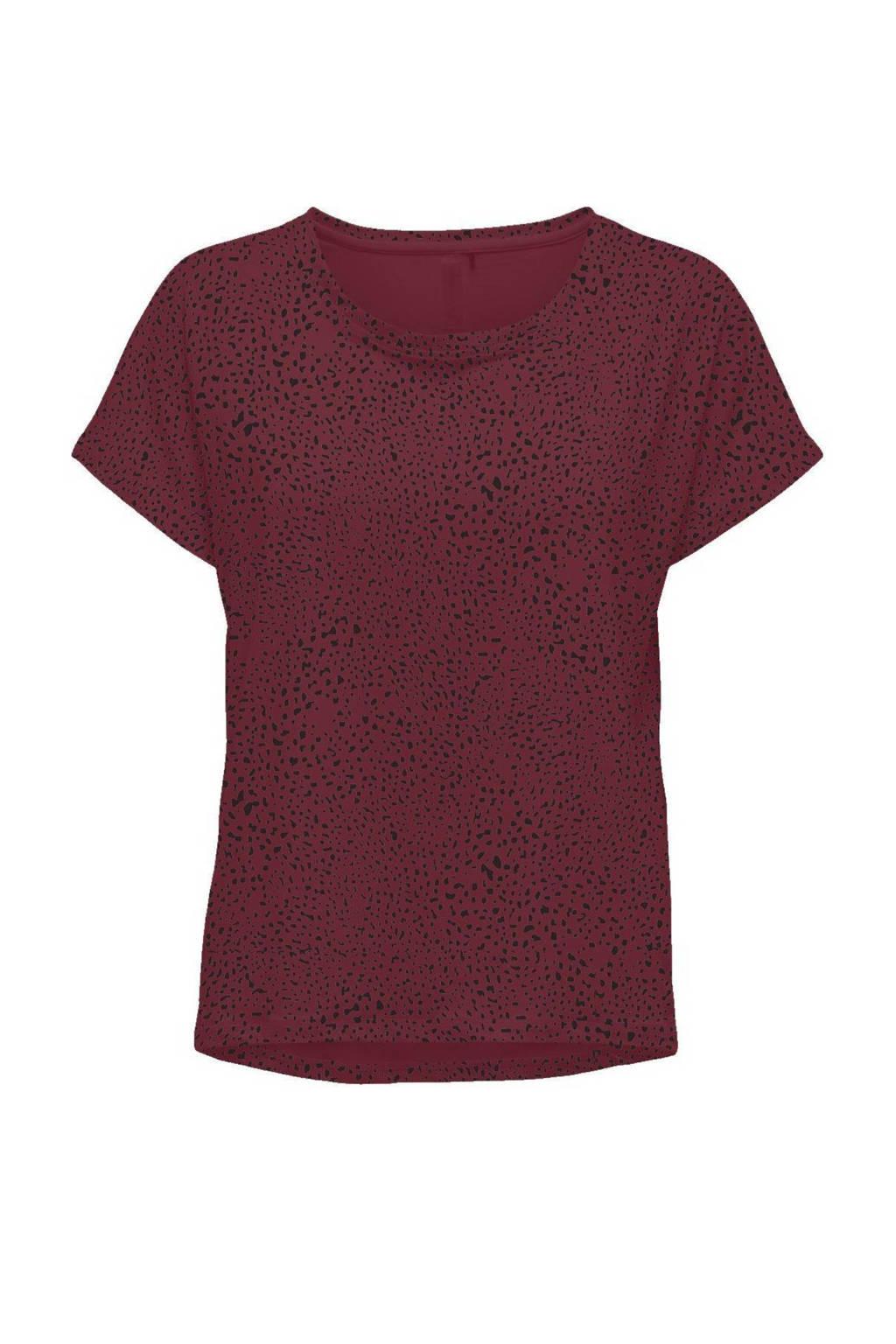 ONLY PLAY Girls sport T-shirt ONPAMARU donkerrood/zwart, Donkerrood/zwart