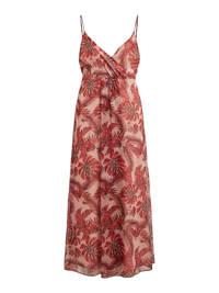 VILA maxi overslagjurk VIAMARYLLIS met all over print rood/roze, Rood/roze