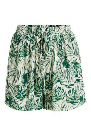 high waist wide leg korte broek VISANNE met bladprint groen/ ecru