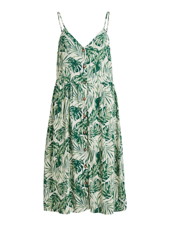 VILA jurk VISANNE met bladprint groen/ ecru, Groen/ ecru