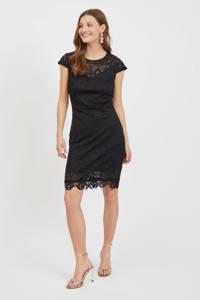 VILA jurk VIEDELLE met kant zwart, Zwart
