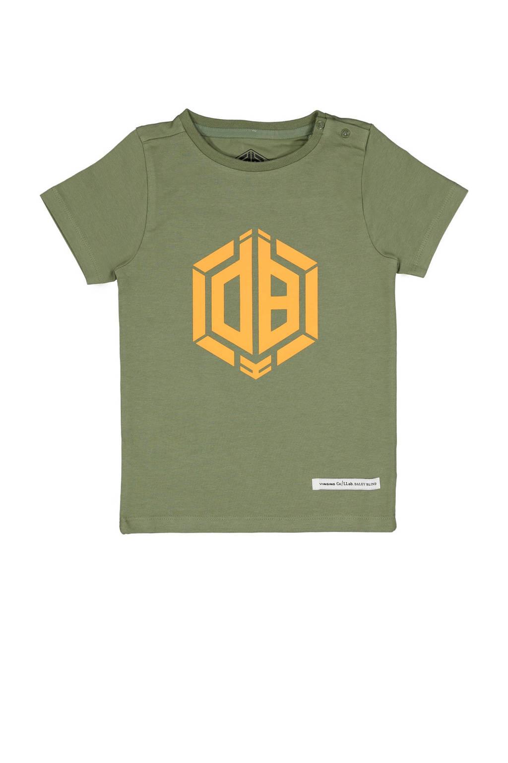 Vingino Daley Blind T-shirt Hermy met logo licht armygroen, Licht armygroen