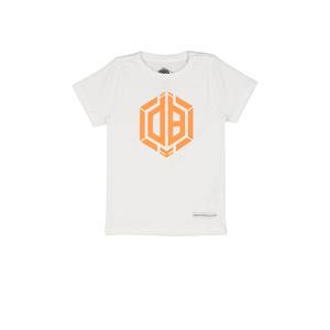 T-shirt Hermy met logo wit/oranje