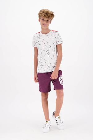 T-shirt Hafit met all over print wit/zwart/rood
