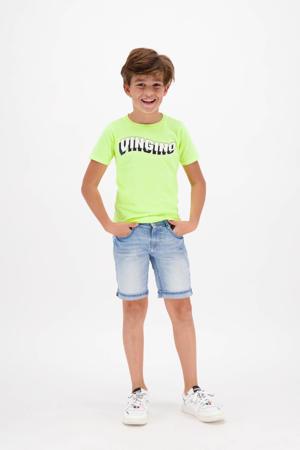 T-shirt Haluk met logo neon geel