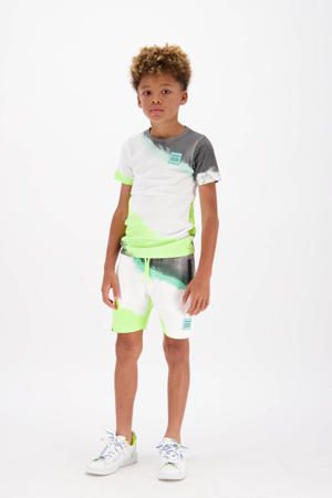 tie-dye T-shirt Hasti neon geel/wit/zwart