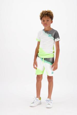 tie-dyeregular fit sweatshort Rasti neon geel/wit/zwart