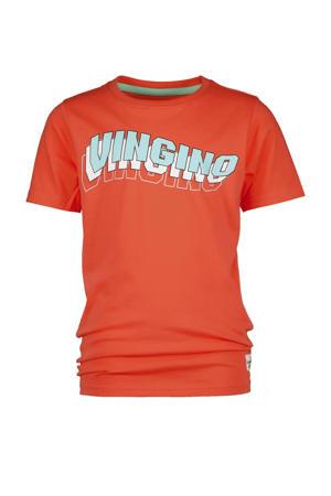 T-shirt Haluk met logo oranjerood