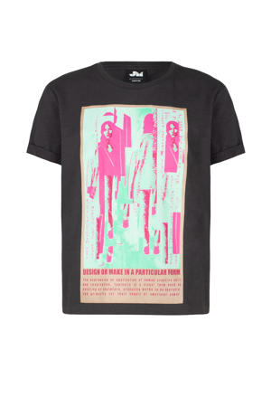 T-shirt San met printopdruk antraciet/roze