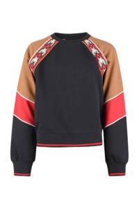 Shoeby Jill & Mitch sweater Liv antraciet/camel/rood, Antraciet/camel/rood