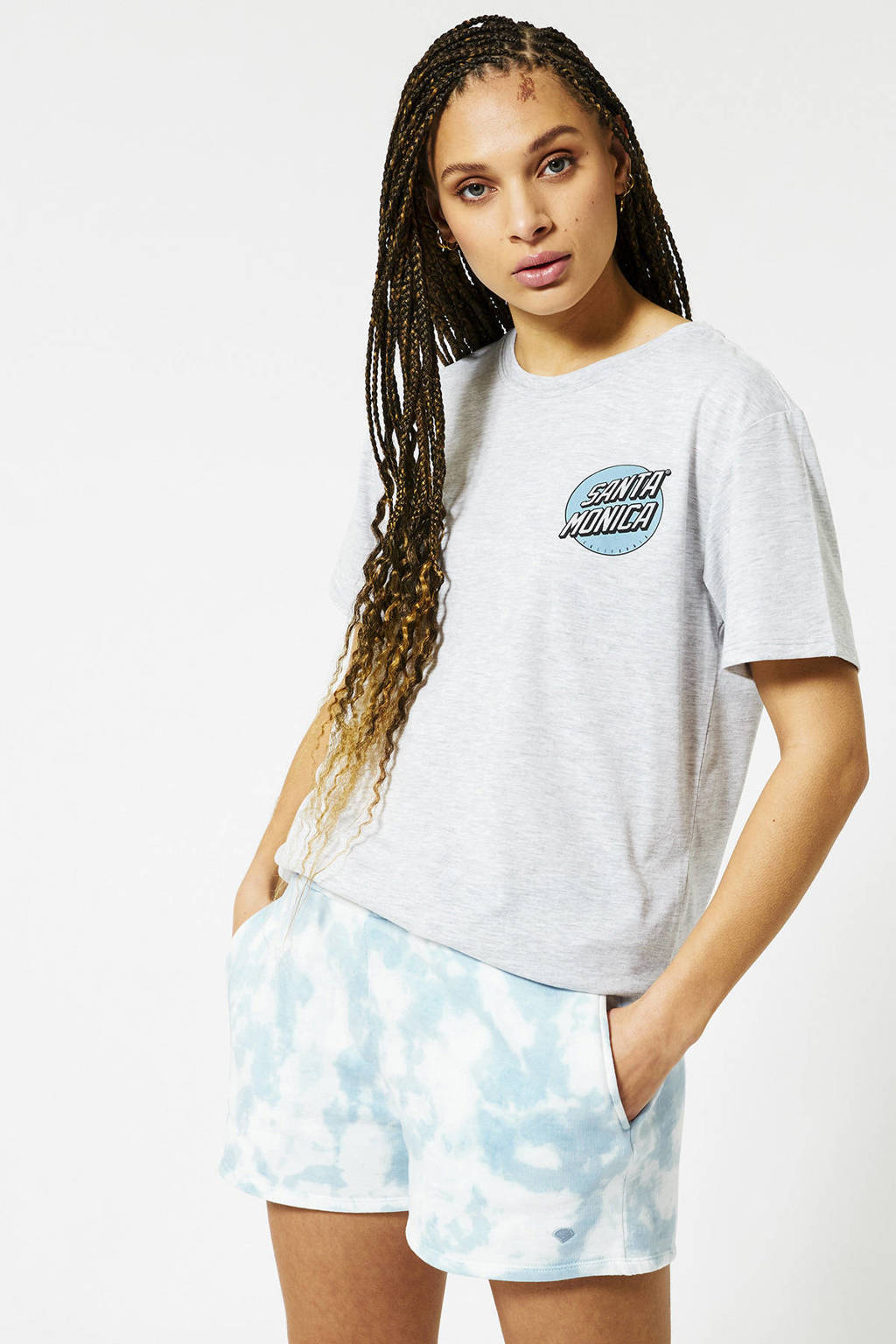 America Today T-shirt Eleanor met tekst washed grey, Lichtgrijs
