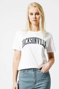 America Today T-shirt Eleanor met tekst wit, Wit