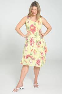 Paprika gebloemde A-lijn jurk lichtgeel/oudroze/groen, Lichtgeel/oudroze/groen