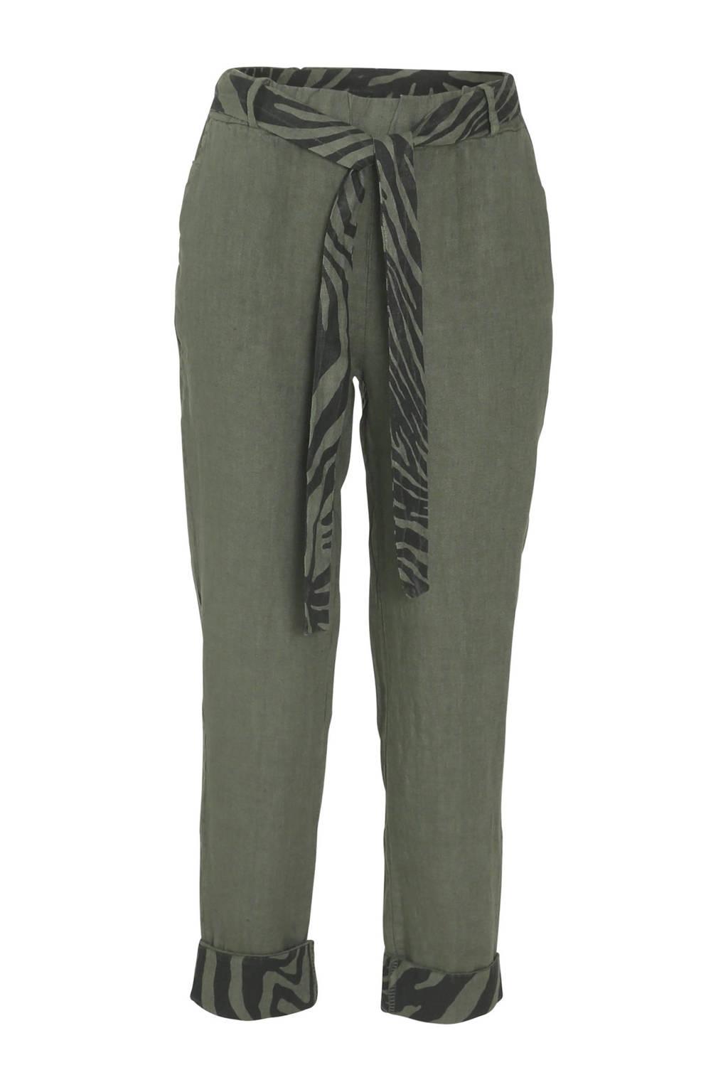 Cassis regular fit broek met bladprint kaki, Kaki