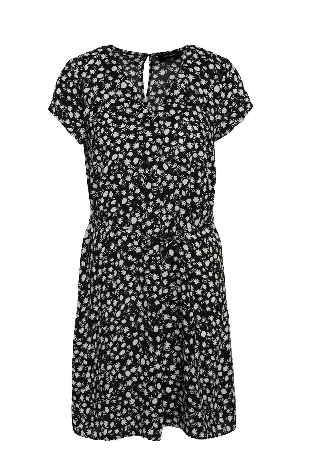 C&A Yessica jurk met all over print en plooien zwart, Zwart