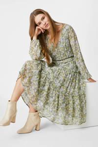 C&A Yessica semi-transparante trapeze jurk met all over print en ruches groen, Groen