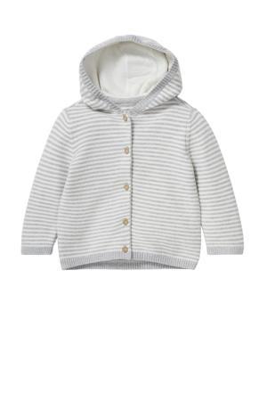 baby gestreept vest van biologisch katoen grijs/wit