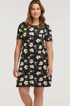 gebloemde jersey jurk zwart/wit/geel