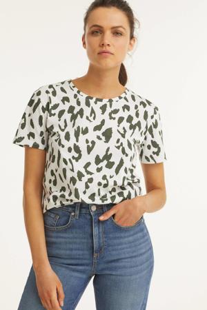 T-shirt met all-over print kaki/wit