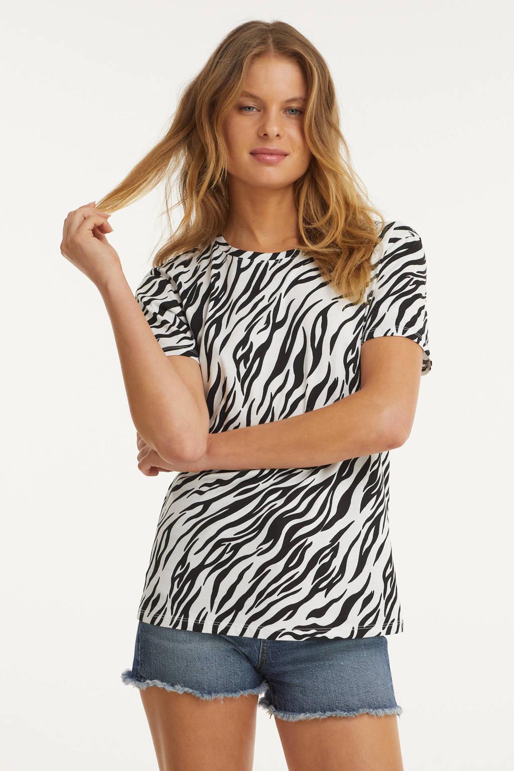 anytime T-shirt met all-over print zwart/wit, Wit/zwart