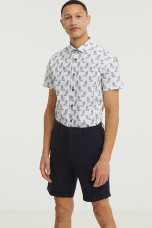 slim fit overhemd met all over print wit/blauw
